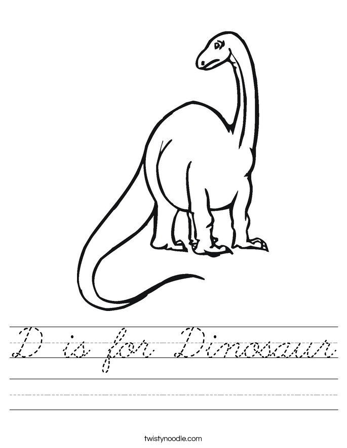 D is for Dinosaur Worksheet