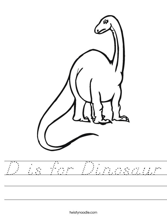 D is for Dinosaur Worksheet