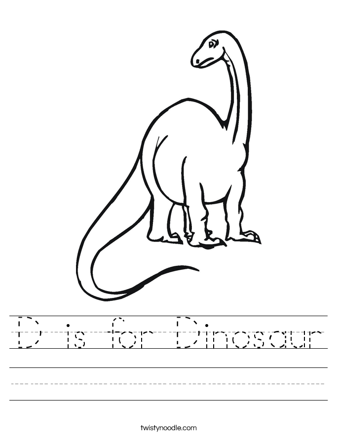 d is for dinosaur worksheet twisty noodle. Black Bedroom Furniture Sets. Home Design Ideas