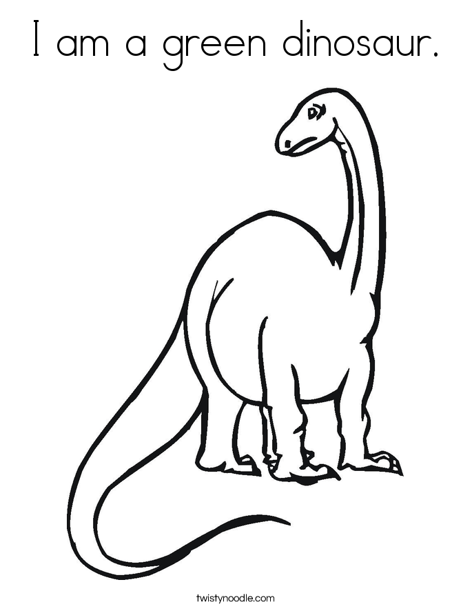 I am a green dinosaur. Coloring Page