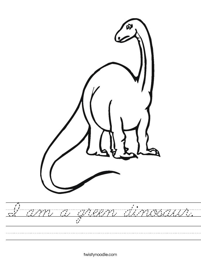 I am a green dinosaur. Worksheet