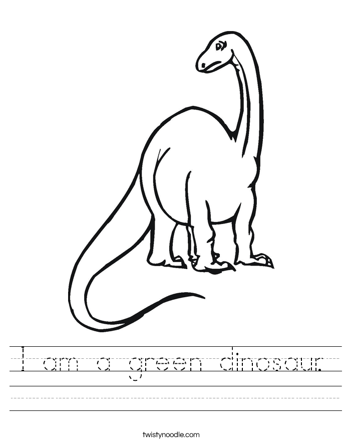 I am a green dinosaur. Worksheet