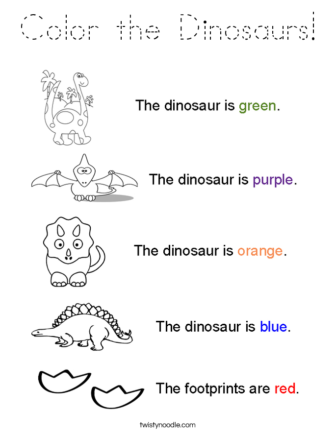 Color the Dinosaurs Coloring Page - Tracing - Twisty Noodle