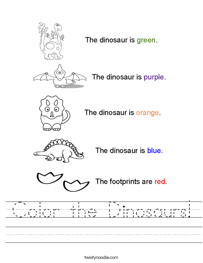 Dinosaur Worksheets Eyfs. Color The Dinosaurs Worksheet Twisty Noodle Rh Twistynoodle. Worksheet. Dinosaurs Worksheets At Mspartners.co