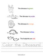 Color the Dinosaurs Handwriting Sheet