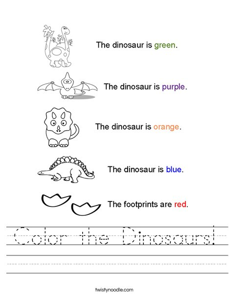 Worksheets Dinosaur Worksheets color the dinosaurs worksheet twisty noodle dinosaur colors worksheet