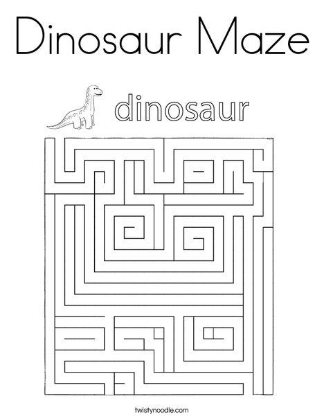 Dinosaur Maze Coloring Page