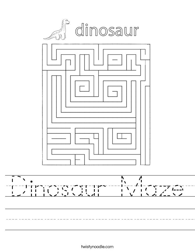 Dinosaur Maze Worksheet - Twisty Noodle