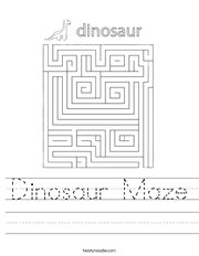 Dinosaur Maze Handwriting Sheet