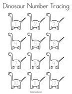 Dinosaur Number Tracing Coloring Page