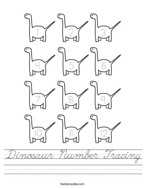 Dinosaur Number Tracing Worksheet