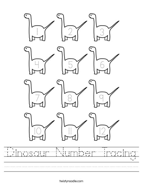 Dinosaur Number Tracing Worksheet