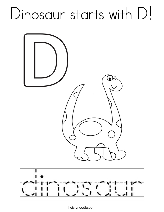 Dinosaur Starts With D Coloring Page