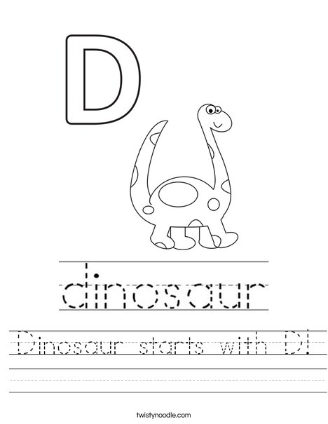 Dinosaur starts with D! Worksheet