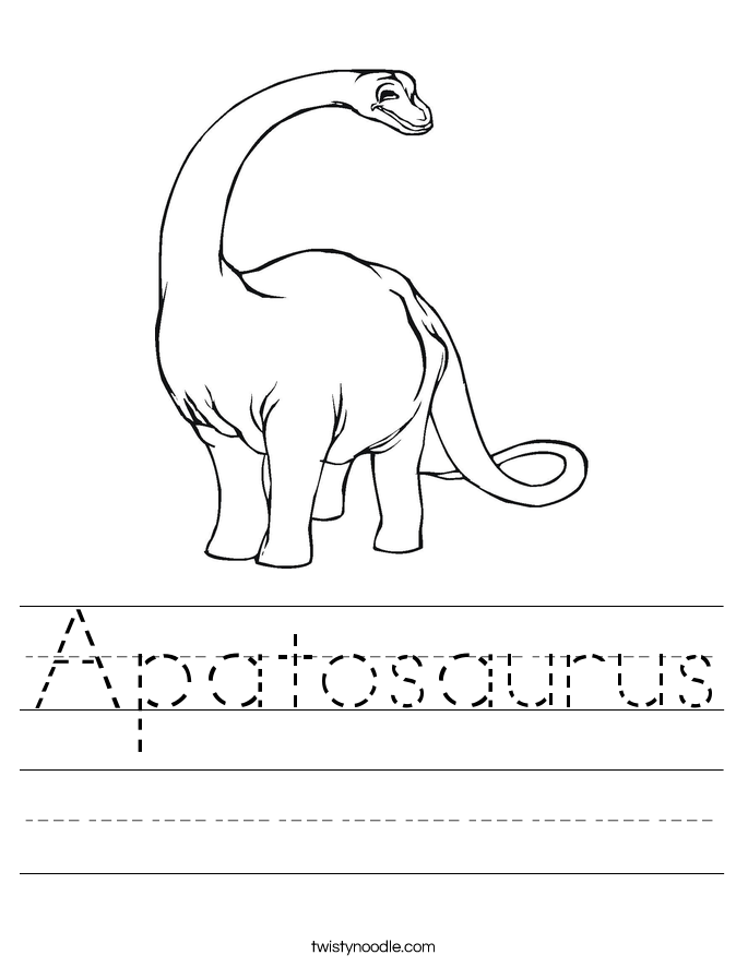 Worksheets Dinosaur Worksheets dinosaur worksheets twisty noodle apatosaurus handwriting sheet
