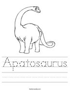 Apatosaurus Handwriting Sheet