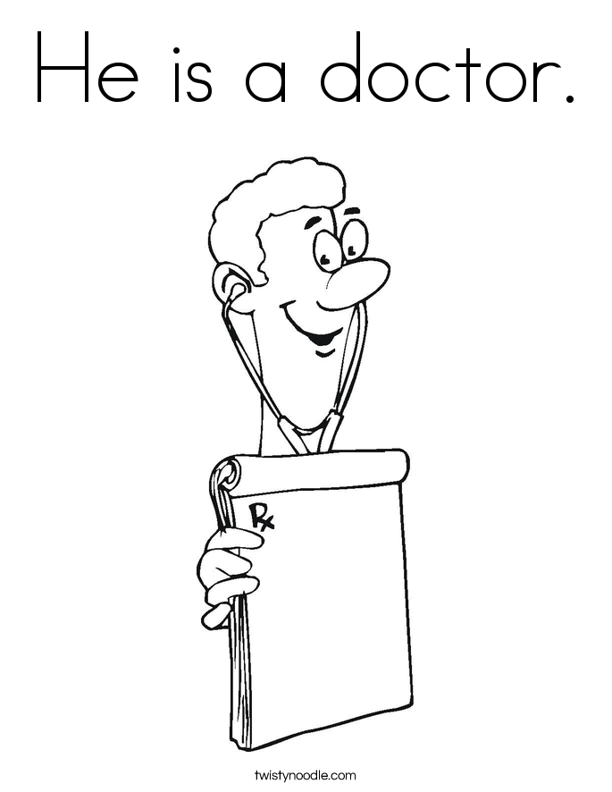 He is a doctor. Coloring Page