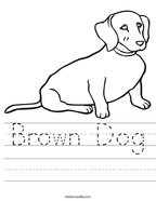 Brown Dog Handwriting Sheet
