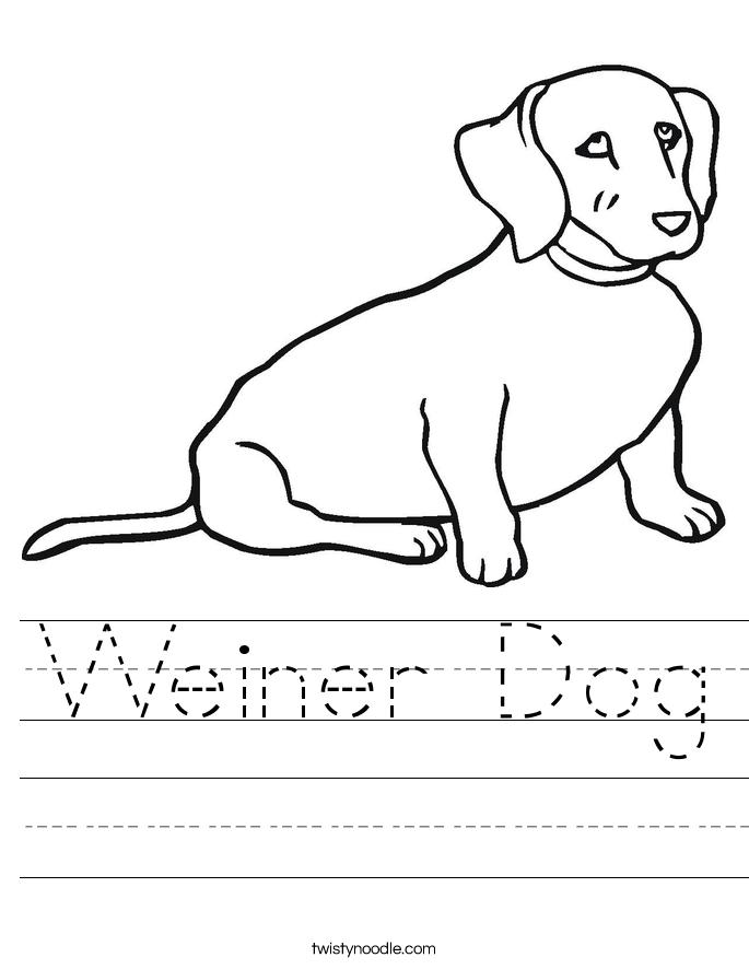 Weiner Dog Worksheet