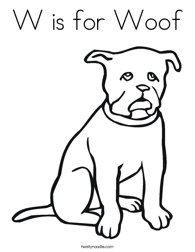 W is for Woof Coloring Page