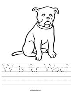 W is for Woof Handwriting Sheet