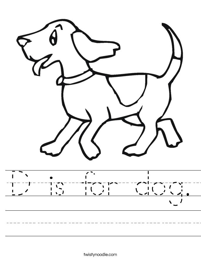 D Is For Dog Worksheet Twisty Noodle