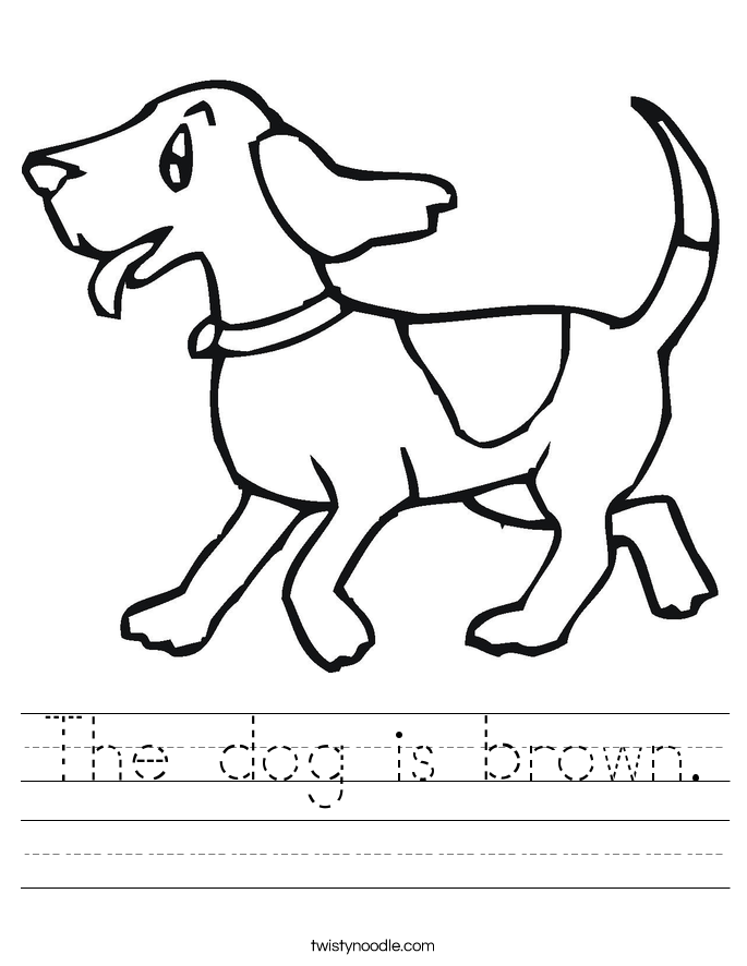 The dog is brown. Worksheet