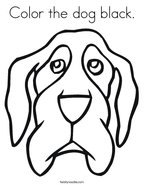 Color the dog black Coloring Page
