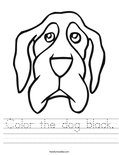 Color the dog black. Worksheet