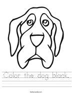 Color the dog black Handwriting Sheet