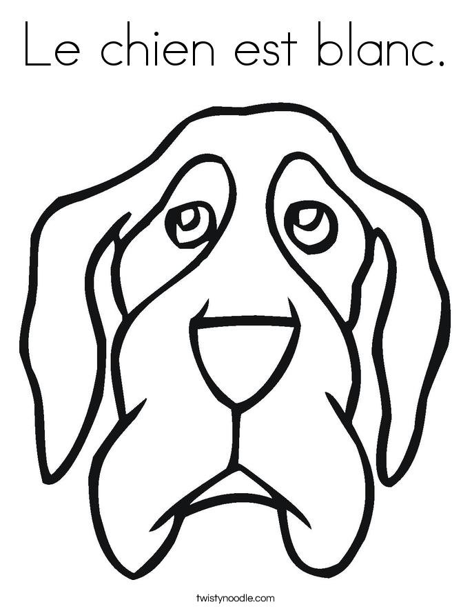 Le chien est blanc. Coloring Page
