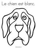 Le chien est blanc.Coloring Page