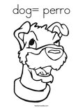 dog= perro Coloring Page