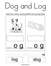 Dog and Log Coloring Page