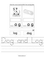 Dog and Log Handwriting Sheet