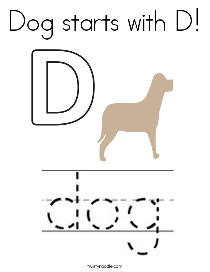 Dog starts with D! Coloring Page