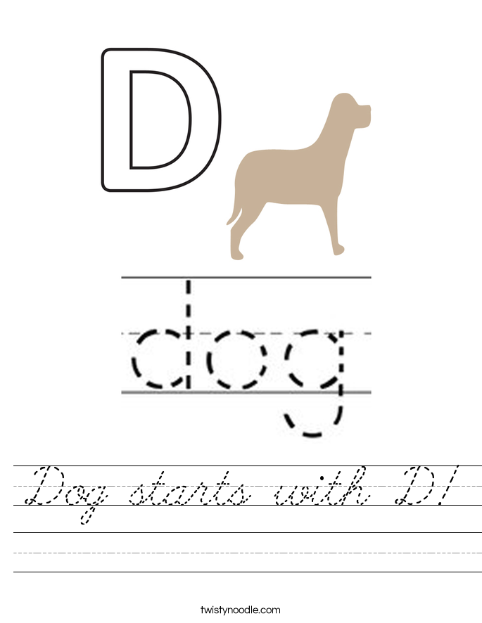 Dog starts with D! Worksheet