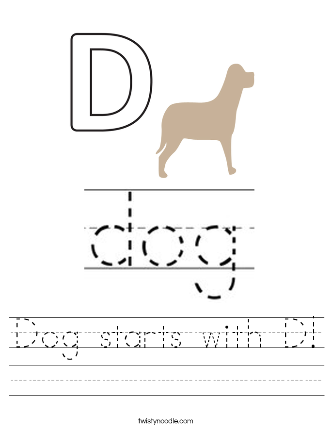 Dog starts with D! Worksheet