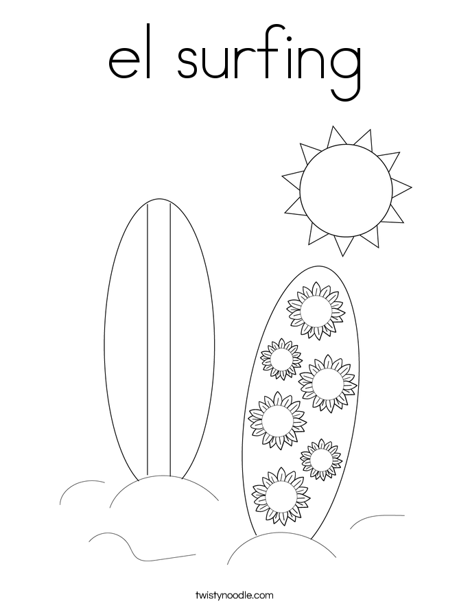 el surfing Coloring Page