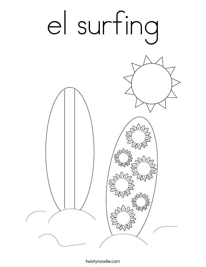 el surfing Coloring Page