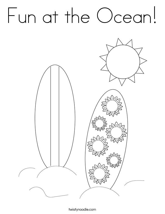 Fun at the Ocean! Coloring Page