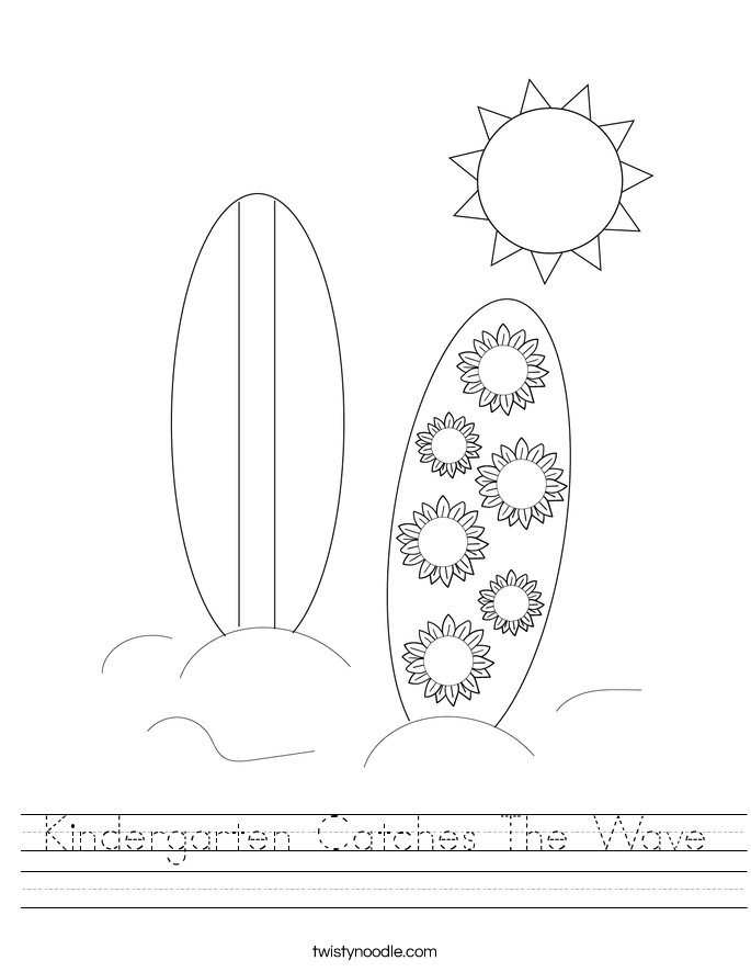 Kindergarten Catches The Wave Worksheet