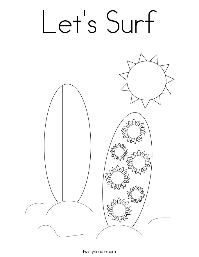 Let's Surf Coloring Page