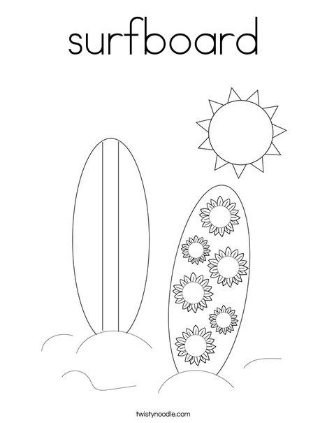 Surfboard Coloring Page Twisty Noodle