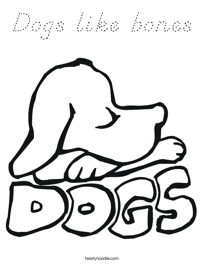 Dogs like bones Coloring Page