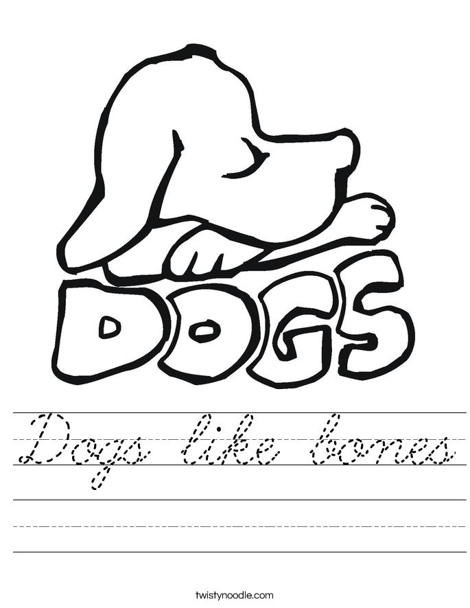 Dogs like bones Worksheet