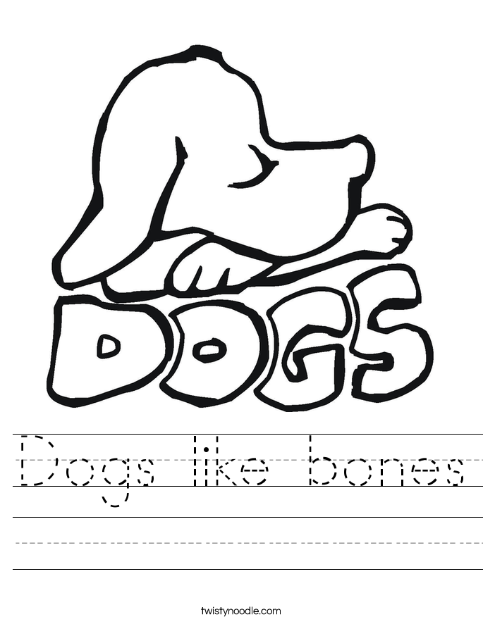 Dogs like bones Worksheet