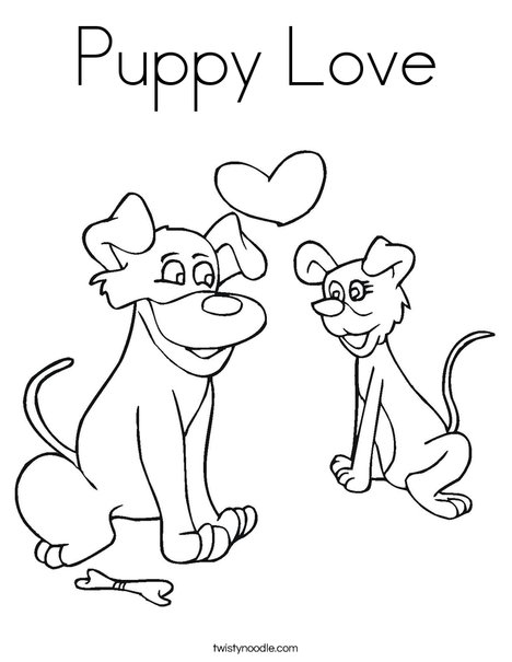 Dogs in Love Coloring Page