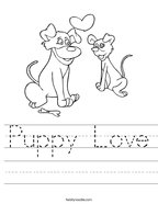 Puppy Love Handwriting Sheet