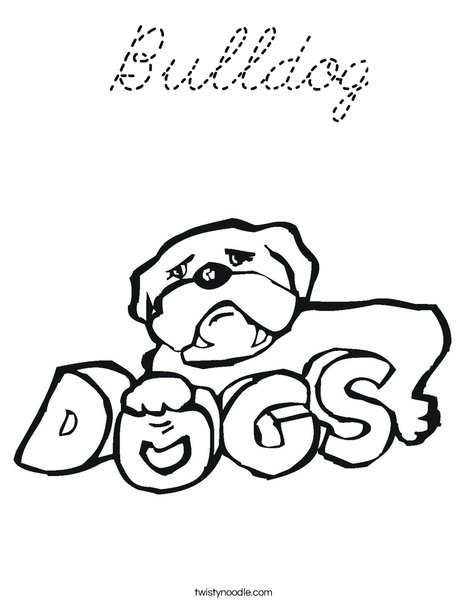 American Bulldog Outline Sketch Coloring Page